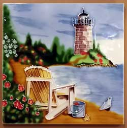 Beach Chair Art Tile