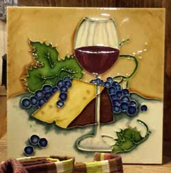 Wine Glass and Cheese Art Tile