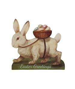 White Bunny with Egg Basket Large Dummy Board