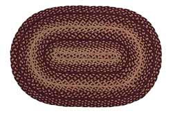 Vintage Star Burgundy Braided Rug, Oval (20 x 30 inch)