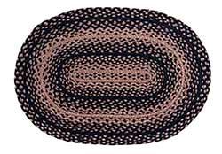 Ebony Black and Tan Braided Rug, Oval (27 x 48 inch)