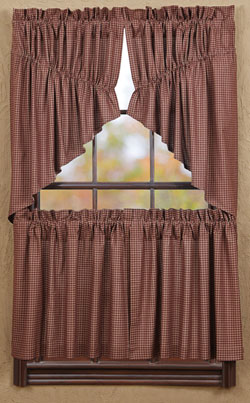 Bancroft Burgundy Check Cafe Curtains - 24 inch Tiers
