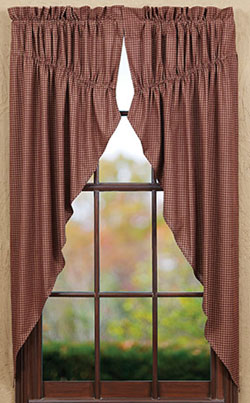 VHC Brands Bancroft Burgundy Check Prairie Curtain (63 inch)