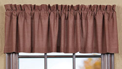 VHC Brands (Victorian Heart) Bancroft Valance (Maroon Gingham)