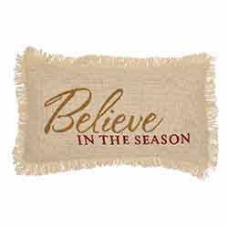 Believe In The Season Creme Burlap Pillow