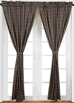 VHC Brands (Victorian Heart) Bingham Star Panels in Plaid (Black, Red, and Tan)