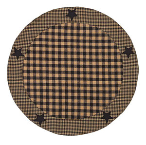 Black Applique Star Tablemat - 20 inch