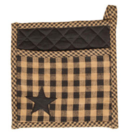 Black Applique Star Pot Holder
