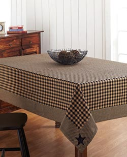 Black Applique Star Tablecloth - 60 x 120 inch