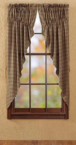 Black Check Prairie Curtain (63 inch)