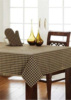 Black Check Tablecloth - 60 x 80 inch (Black and Tan)