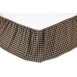 Black and Tan Check Bed Skirt (Multiple Size Options)