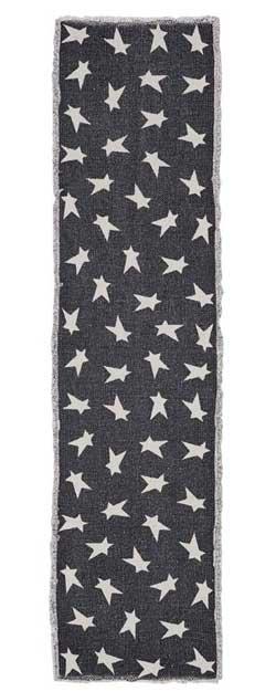 Black Primitive Star Tablerunner, 54 inch