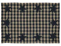 Black Star Placemats, Set of 2 (Black and Tan)