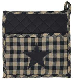 Black Star Pot Holder (Black and Tan)