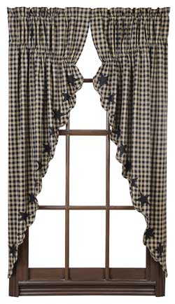 Black Star Prairie Curtain (Black and Tan)