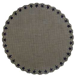 Black Star Tablecloth - 70 inch Round (Black and Tan)