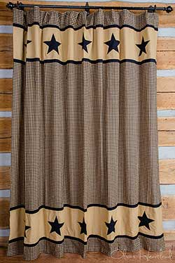 Olivia's Heartland Black Check Shower Curtain with Black Star Border