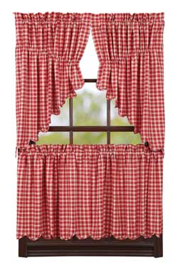 Breckenridge Red Plaid Cafe Curtains - 24 inch Tiers