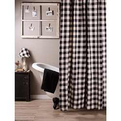 Raghu Buffalo Check Black Shower Curtain