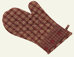 Burgundy Applique Star Oven Mitt