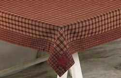 Burgundy Applique Star Tablecloth, 60 x 120