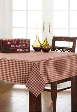 Burgundy Check Tablecloth, 60 x 80
