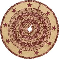 Burgundy and Tan Jute Tree Skirt