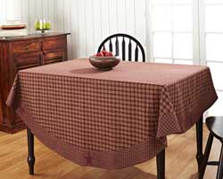 Burgundy Applique Star Tablecloth, 70 inch (Round)