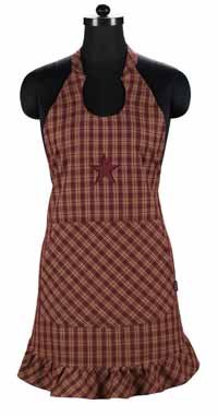 Victorian Heart Applique Star Burgundy Apron