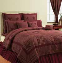 Victorian Heart Applique Star Burgundy Quilt SET