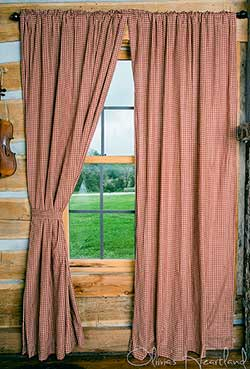 Olivia's Heartland Burgundy Checkered Curtain Panels - 84 inch
