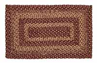 Burgundy and Tan Jute Rug - Rectangle (Multiple Size Options)
