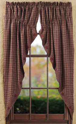 Burgundy Applique Star Prairie Curtain (63 inch)