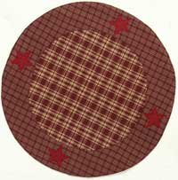 Victorian Heart Applique Star Burgundy Tablemat