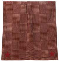Applique Star Burgundy Throw