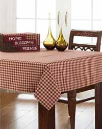 Burgundy Check Tablecloth, 60 x 60