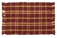 Burgundy Plaid Jute Rug