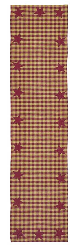 Burgundy Star Table Runner - 54 inch