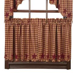 Burgundy Star Cafe Curtains - 24 inch Tiers