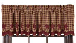 Burgundy Star Layered Valance