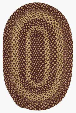 Burgundy and Tan Jute Rug - Oval (27 x 48 inch)