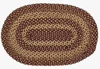 Burgundy and Tan Jute Rug - Oval (Multiple Size Options)