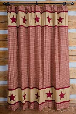 Burgundy Check Shower Curtain with Star Border