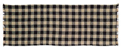Burlap Black Check Tablerunner, 36 inch (Black and Tan)