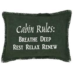 Burlap Hunter Pillow - Cabin Rules