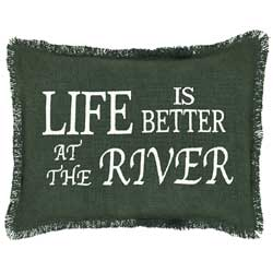 Burlap Hunter Pillow - Life is Better at the River