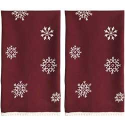 Merlot Snowflake Kitchen Towels (Set of 2)