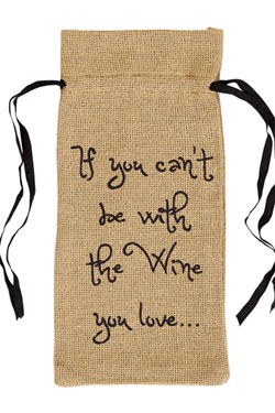 VHC Brands (Victorian Heart) Burlap Natural Wine Bag - Wine You Love