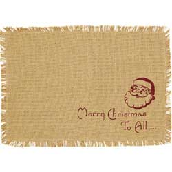 Santa Burlap Placemats (Set of 6)
